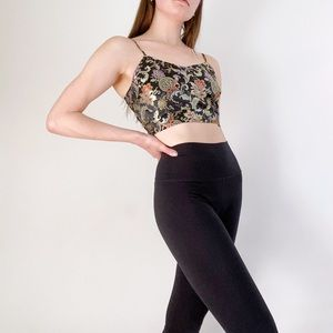 Polly & Esther Black Gold Shiny Floral Bandeau Top